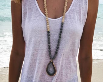 wood beaded stone necklace