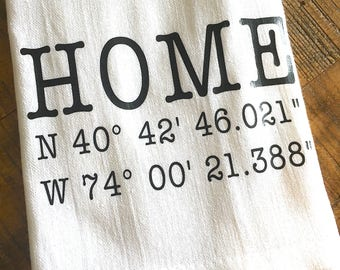 Personalized Housewarming Gift - GPS Coordinates Flour Sack Towel - New House - Father's Day Gift - Kitchen Towel Dish Cloth