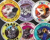 Trash Cat - Glossy Possum Stickers (Sets and Individual)