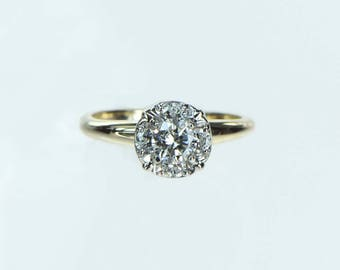 Vintage 1960s Diamond Halo Engagement Ring .26ct