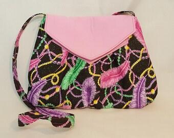Feather bead bag - Tote bag - Handmade bag - Black shoulder bag - Tote handbag - Shoulder bag - Everyday purse - Green pink shoulder bag