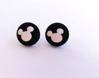 Mickey Mouse Silhouette Fabric Button Earrings