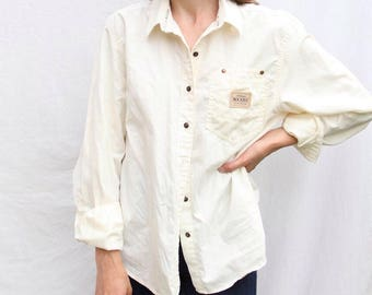 Cotton Sporty/Outdoors Button-Down Blouse- Sz M