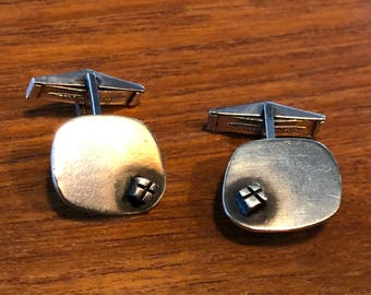 Bill Tendler sterling silver modernist cufflinks, with oxidized accent