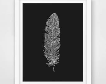 Feather Print, Feather Drawing Print, Printable Art, Feather Wall Print, Feather Nursery Print, Wall Decor, Boho Wall Art, Boho Print