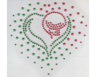 Christmas Heart Applique, Pearl Studs Iron On, DIY Iron On Heat Press Transfer 316