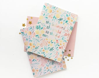 Notebook - Cute Floral Stationery - A6 Lined Journal - Pocket Travel Journal - Gift for Her