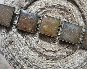 Brown Rough/Smooth Chip Inlay Square Bracelet