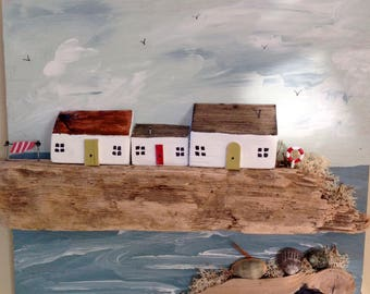 Windy day; driftwood cottages; wooden gift; mother's day gift; wooden houses; seaside picture