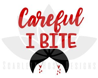 Halloween Boy SVG, Careful I Bite, blood Vampire Fangs, Bat cut file for silhouette cameo and cricut