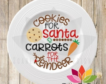 Christmas SVG, Cookies for Santa, Carrots for the Reindeer, Santa Cookie Plate design cut file for silhouette cameo and cricut