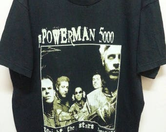Vintage 90's POWERMAN 5000 T - shirts / Tonight The Stars Revoit! XL size Giant tag Black Shirt