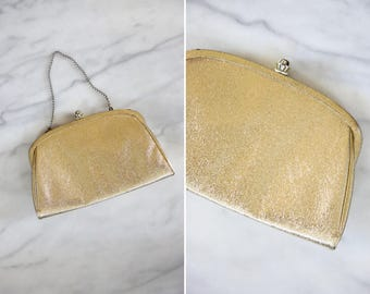 Vintage Gold Clutch // Gold Evening Bag with Chain Handle and Gold Clasp