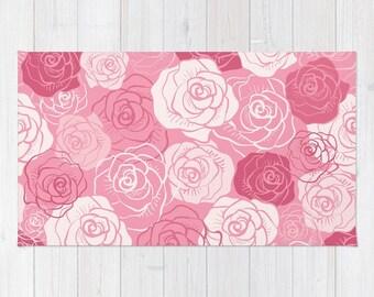 Rosa Rosen Teppich, Rosa Blumen Teppich, Rosa Schlafzimmer Teppich, Rosa  Kinderzimmer Teppich