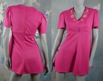 Pink Mini Dress, V-Neck Short-Sleeve 1970s Vintage Hot Pink Mini w Embroidered Neckline, Empire Waistline, and Flutter Sleeves: 6 US, 10 UK