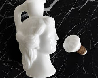 Milk Glass Decanter With Lid