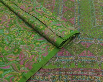100% Indian Vintage Antique Fabric Pure Silk Green Saree Floral Printed Used Sari Craft Fabric 5 YD VPS48223