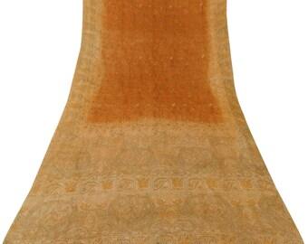 Vintage Indian Kantha Printed Saree Pure Khadi Silk Orange Sari Craft Fabric Upcycled Fabric Antique Sari 5YD VPSK1275