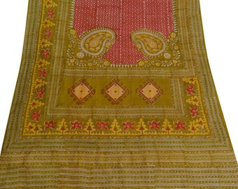 Antique Indian Vintage Red Floral Printed Saree Silk Blend Ethnic Sari Used Recycled Fabric Saree 5YD VPS50648