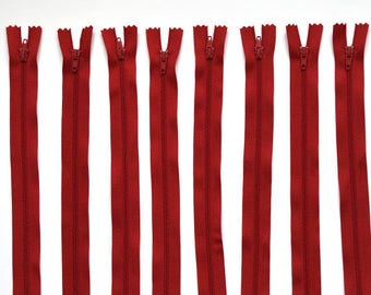Zip up red not separable 25 cm