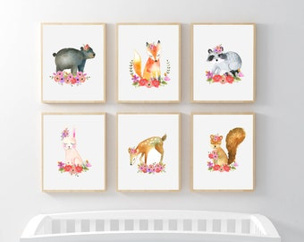 PRINTABLE, Woodland Nursery Art, Floral Animals Nursery Prints, INSTANT DOWNLOAD, Owl fox raccoon bunny bear deer squirrel Watercolor Floral