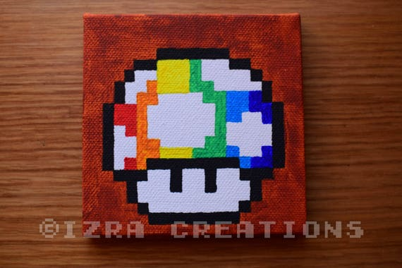 tableau peinture pixel art champignon mario arc en ciel. Black Bedroom Furniture Sets. Home Design Ideas