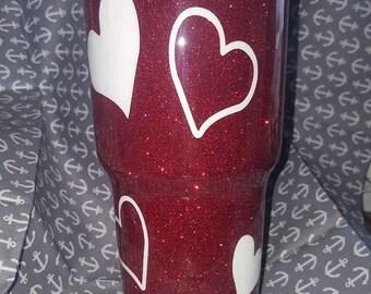 Glittered Heart Tumbler