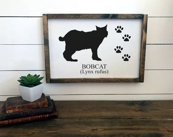 Woodland Nursery Decor | Bobcat Sign | Nursery Wall Art | Framed Sign | Cabin Decor | Lodge Decor  | Camp Sign | Rustic Sign Decor