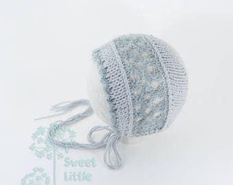 Bonnet - Knitted newborn photography prop