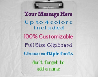 Full Size Personalized Clipboard  - Teacher Gift - Nurse Gift - Coworker Gift- Custom Name Clipboard - 9x12 Clipboard- Add Your Own Message
