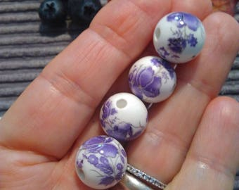 4 Floral Purple/Dark Lilac Patterned, White Porcelain 14mm Beads. For Jewelry Making and Creative Craft Supply.
