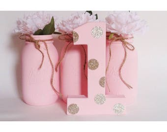 Pink Numbers, Pink and Gold, Free Standing Numbers, First Birthday, Gold First Birthday
