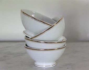 French Vintage Cafe Au Lait Bowls, Lourdes,  Shabby Chic Cafe Au Lait bowls in White, Jeanne D'arc Living