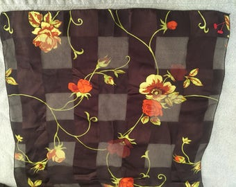 Vintage Scarf / Poppies and Roses