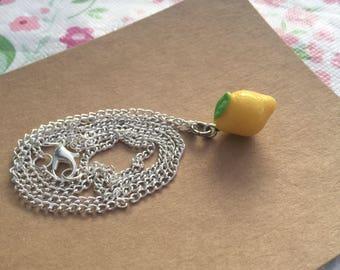 Lemon Necklace, Lemon Charm Necklace