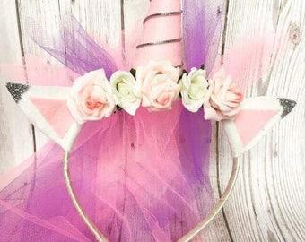 unicorn headband with veil girls party/henparty/fancy dress