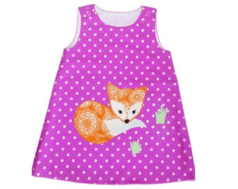 Fox applique girls dress Toddler cotton pinafore Handmade woodland animal summer outfit Baby girl applique jumper A-line sundress 3-6M to 8Y
