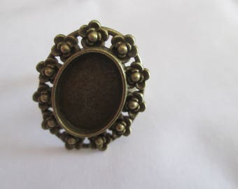 support Adjustable ring bronze cabochon 18 x 13 mm