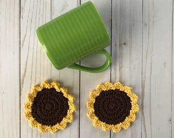 Crochet coasters, Set of coasters, Flower coasters, Drink coasters, Cotton coasters, Table coasters, Crochet flower, Sunflower decor