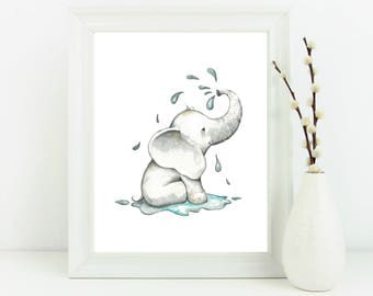 Elephant nursery decor, elephant wall art print, children's wall art, elephant print, elephant room decor, kids room art