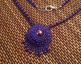 Bead Embroidery.  Purple necklace. Purple pendant.  Purple beaded necklace. Purple bead embroidery necklace.