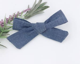 Baby Girl hand tied Bow - Nylon Headbands - Hair clip - Infant / Toddler /  Fabric Hair Bows / Clips - chambray bow