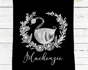 Swan Baby Blanket / Black And White Blanket / Modern Baby Blanket / Black And White Nursery Bedding / Personalized Baby Blanket Girl Minky