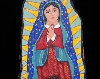 Nuestra Senora de Guadalupe - flagstone retablo, OOAK painting.