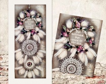 Postage included-Dream catcher painting-medium 900mm-450mm (P/H included in price)