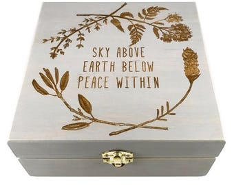 Sky Above Earth Below - Essential Oil Storage Box 25 Slot 15ml - Pine - Choose Finish and Custom Laser Engravings - Fit dōTERRA Young Living