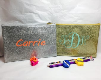 personalized glitter pencil pouches, back to school pencil bags