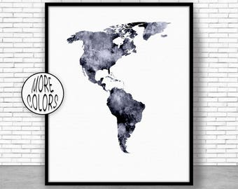 The Americas Map The Americas Print Living Room Decor Map Wall Art Print Travel Map Travel Decor Office Decor Office Wall ArtGift for Women