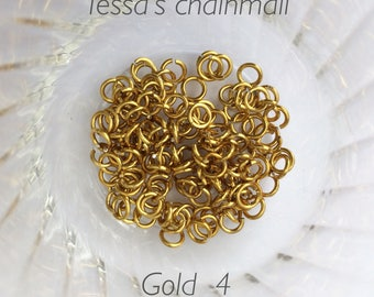 "18g 5/32 ""chainmaille saw cut jump rings, gold jump rings, DIY, chainmaille supplies, gold jumprings, gold,Tessa's chainmail"