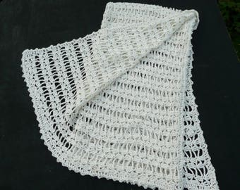 """Baby Blanket, Cotton Crocheted Baby Blanket, (44"""" X 26"""") 22 x 66cm.Crocheted New Baby Gift. Made To Order,White Or Cream."""